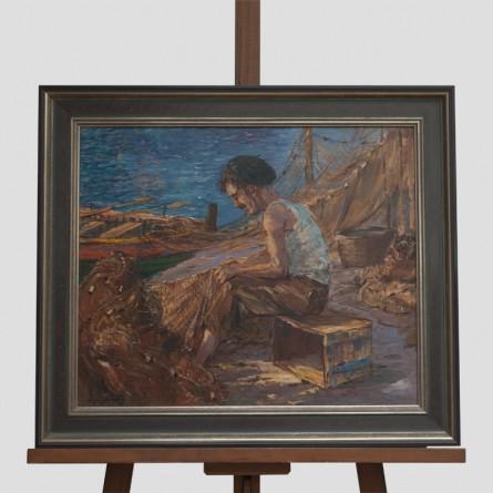 Edgar Freyberg – Netzflicker (Baske)– Ölgemälde auf Leinwand - Galerie Teyssen in Bremerhaven-Lehe