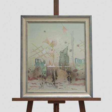"""Carl-Heinz Lieck – """"Vier Lilien"""" – 1999 – Öl-Spachtelarbeit auf Leinwand – Galerie Teyssen in Bremerhaven-Lehe"""