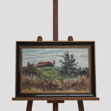 Klaus Bemmer – Hof im Moor – Öl-Spachtelarbeit auf Leinwand – Galerie Teyssen in Bremerhaven-Lehe