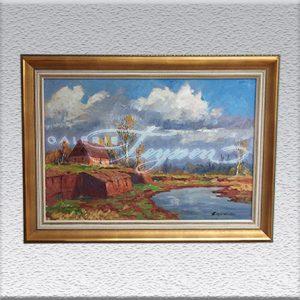 "Paul Ernst Wilke: ""Verlüssmoor"" (1967) Ölgemälde, gerahmt, 78 x 108 cm 2250,- €"