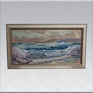 Heinz Kollecker: Meeresbrandung Ölgemälde, gerahmt, 62 cm x 112 cm, 980,- €