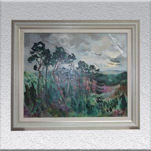 Georg Hillmann: Landschaft mit Kiefern Ölgemälde, gerahmt, 77 cm x 92 cm, 1450,- €