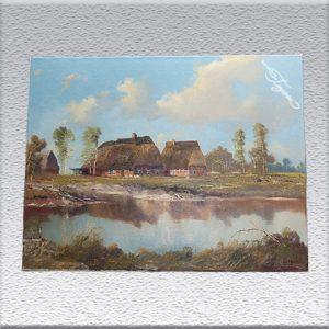 Erich Zimmermann: Häuser am Kanal Ölgemälde, ungerahmt, 60 cm x 80 cm, 700,- €