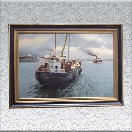 Feindahl ? (unl. signiert): Forelle Altenwerder Ölgemälde, gerahmt, 75 cm x 105 cm, 1580,- €
