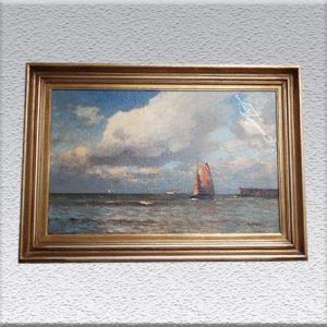 H. Jungblut: Blick auf See Ölgemälde, altgerahmt, 74 cm x 106 cm, 1950,- €