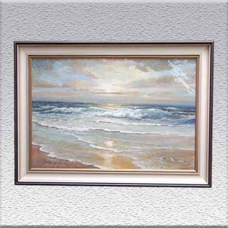 Lothar Schulz-Goldap: Brandung am Abend (1988) Ölgemälde, gerahmt, 50 cm x 70 cm, 790,- €