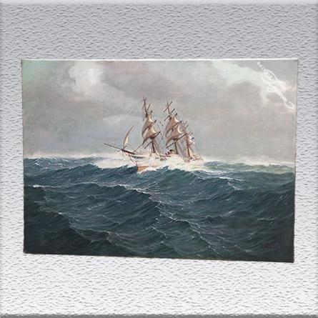 "A. Neumann: Dampf-Segelschiff evtl. ""S. M. Sophie"" Ölgemälde, ungerahmt, 70 cm x 100 cm, 2800,- €"