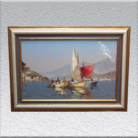 Reinhard Bartsch: Fischer bei Sorrent Ölgemälde, gerahmt, 70 cm x 100 cm, 1670,- €