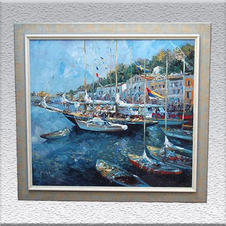 Christian Jereczek: Yachthafen Ischia Ölgemälde, 97 cm x 107 cm, (Vergolderrahmen), 5800,- €
