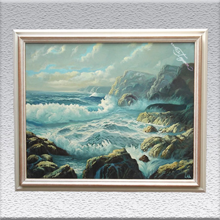 Monogrammist - nord-spanischer Maler:Nordspanische Küste Ölgemälde, gerahmt, 86 cm x 105 cm, 1790,- €