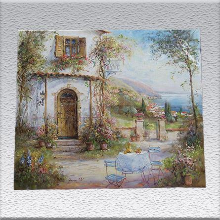 Janez Knez: Blumenterrasse Ölgemälde, ungerahmt, 50 cm x 60 cm, 700,- €