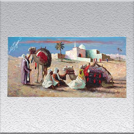 Gerhard Merfort:Araber mit Kamelen Ölgemälde, ungerahmt, 50 cm x 100 cm, 850,- €