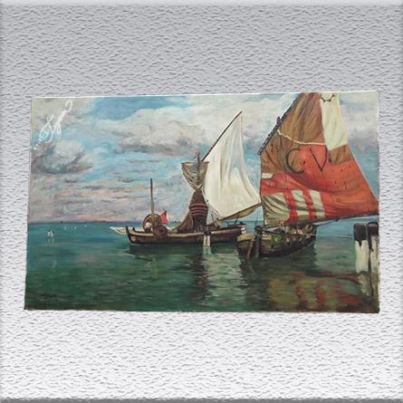 W. Gerock: Venezianische Segelboote Ölgemälde, ungerahmt, 60 cm x 100 cm, Angebot 490,- €