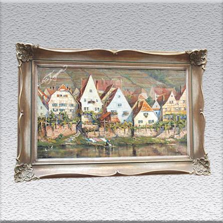 unleserlich signiert: Häuserzeile (an der Mosel?) Ölgemälde, gerahmt, mit Barockrahmen, 96 cm x 79 cm, Angebot 890,- €