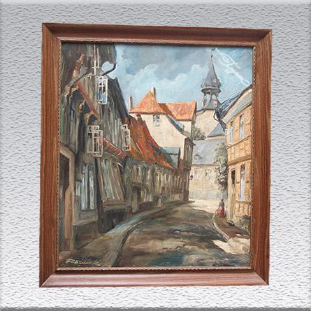 Razilack ?: Goslar-Schlüchtegasse Ölgemälde, altgerahmt, 73 cm x 63 cm, Angebot 399,- €