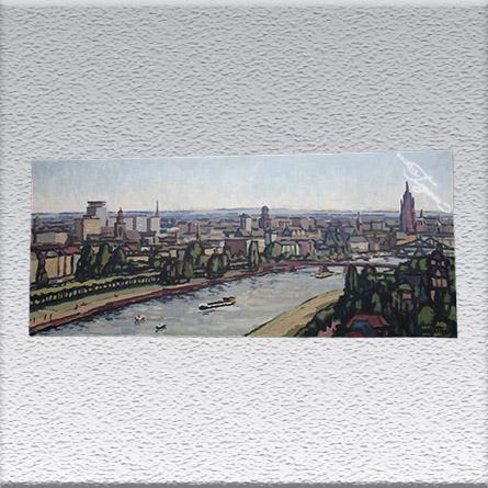 W. Bottig: Frankfurt am Main Ölgemälde, ungerahmt, 50 cm x 120 cm, Angebot 490,- €