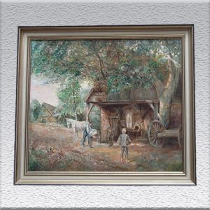 Grete Thiele (Brhv.): Dorfschmiede (1963) Ölgemälde, gerahmt, 60 cm x 69 cm, 490,- €