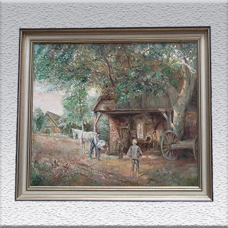Grete Thiele (Brhv.): Dorfschmiede (1963) Ölgemälde, gerahmt, 60 cm x 69 cm, Angebot 490,- €