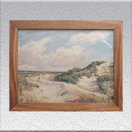 Fritz Stark: Düne (um 1965) Ölgemälde, gerahmt (mit massiver Eiche), 72 cm x 92 cm, Angebot 390,- €