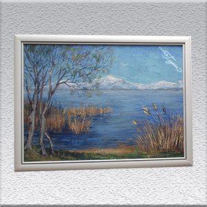 unsigniert: Seenlandschaft mit verschneiten Bergen Ölgemälde, gerahmt, 71 cm x 97 cm, 490,- €