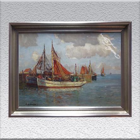 Paul Ernst Wilke: Kutter im Hafen (um 1927) Ölgemälde, gerahmt, 60 x 80 cm 2450,- €