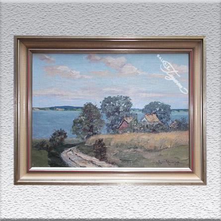 Hans Hentschke: Landschaft am Gewässer Ölgemälde, gerahmt, 62 x 82 cm 750,- €
