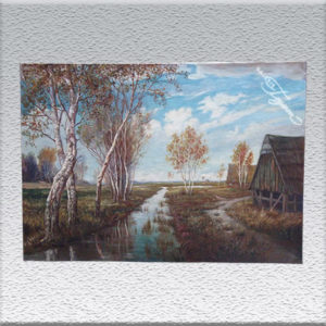H. Westhoff: Worpsweder Landschaft (1944) Ölgemälde, ungerahmt, 68 x 100 cm 790,- €