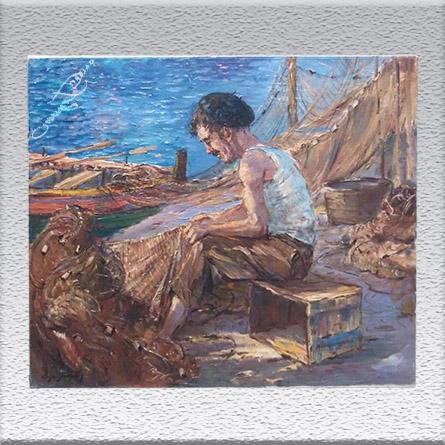 Edgar Freyberg: Spanischer Fischer Ölgemälde, ungerahmt, 50 x 60 cm 950,- €