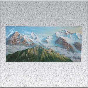 Professor W. Minetti: Alpenpanorama, Berner Oberland Ölgemälde, ungerahmt, 60 x 130 cm 250o,- €